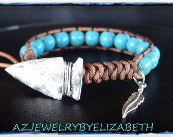 Turquoise Mens Southwestern Beaded Leather Wrap Bracelet, Turquoise Bracelet. #96