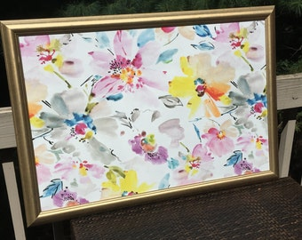 Custom Sized Gold Metallic Framed MAGNETIC Bulletin Board - Pink, Blue & Yellow Floral Fabric Covered Magnet Board Memo Board Bedroom Office