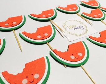 Handmade Cupcake Toppers - Watermelon Fruit Theme x 12