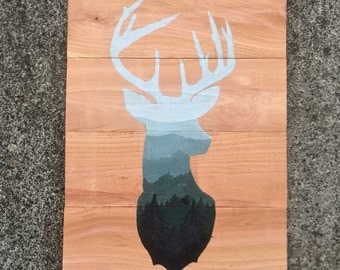 Rustic Woodland Wood Pallet Mountain Landscape Deer Silhouette Painting