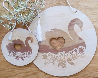 Swan timber wall art. Laser etched Floral Swan design wall discs.