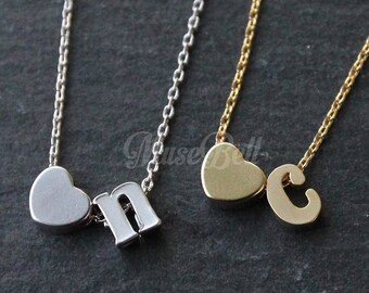 Heart lowercase necklace, Love alphabet necklace, Personalized necklace, Initial necklace, Simple heart jewelry, Your Best Friend Jewelry