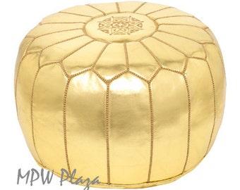 Sale - Metallic Gold  Morroccan Pouf / Ottoman