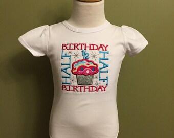 Half birthday onesie or shirt monogrammed