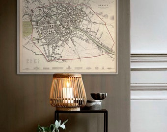 """Map of Berlin 1833, Old Berlin map, Blue or Sepia, 3 sizes up to 30x24"""" (75x60 cm) Berlin, Germany, also in blue - Limited Edition of 100"""