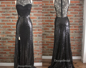 Sexy Black Sequins Lace Long Evening Dress,High Slits Lace Cocktail Dress,Black Sequins Evening Gowns,Black Ball Party  Prom Lace Dress 2016