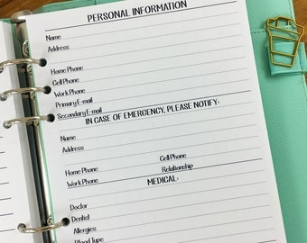 A5 Personal Information printed planner insert refill - info page - in case of emergency numbers - medical - insurance