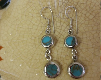 Mexican Turquoise and Silver Dangle Earrings