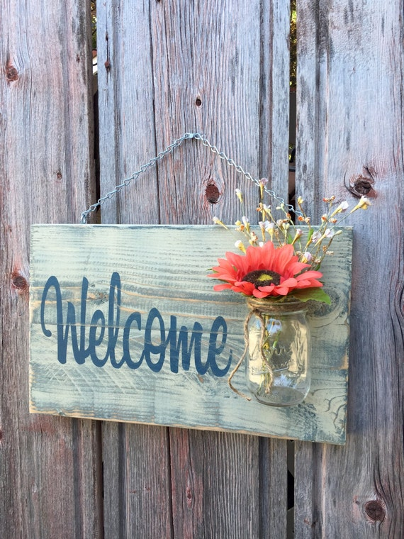 Rustic Outdoor Welcome Sign In Blue White Mothers Day Gift