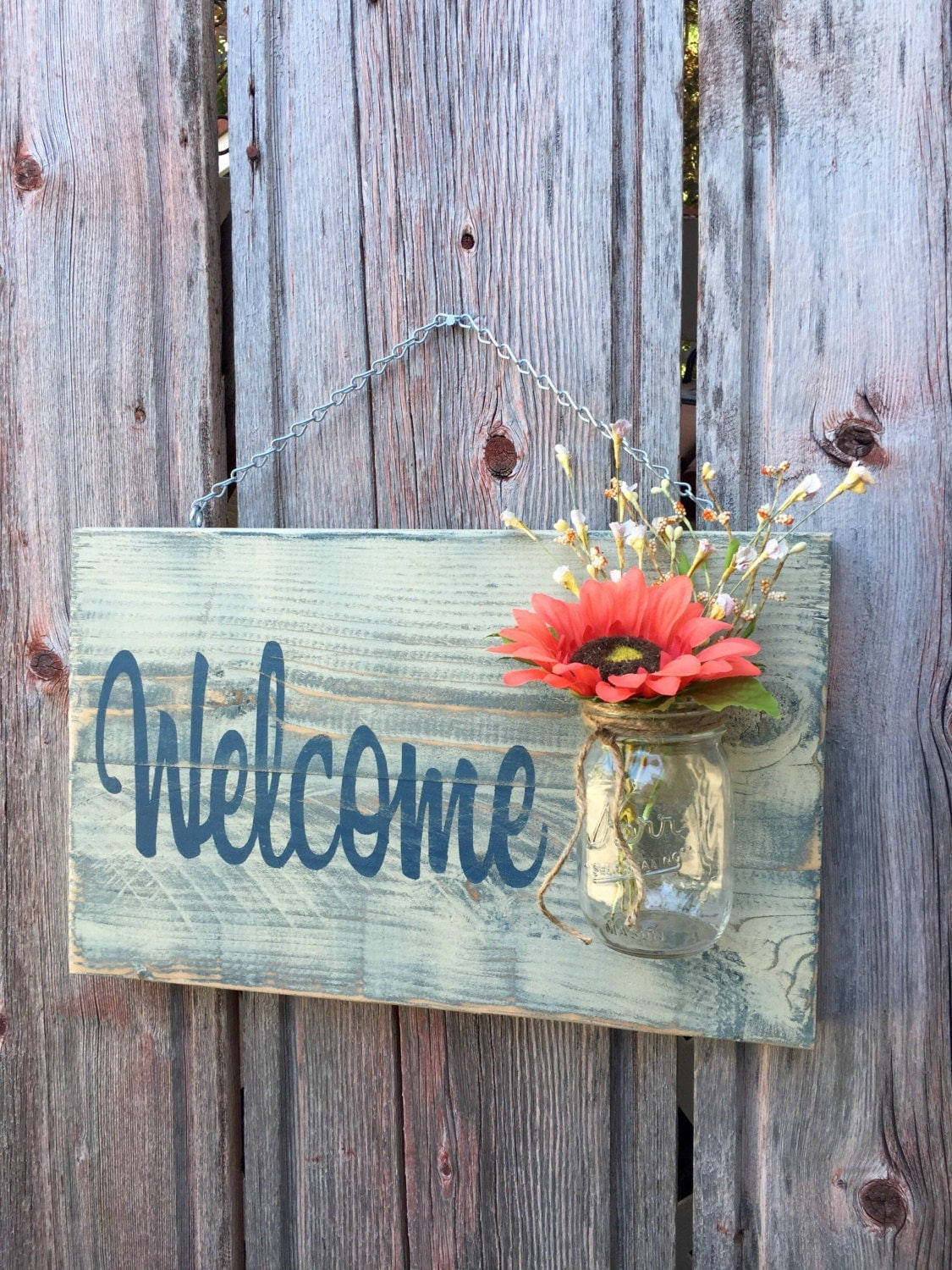 Rustic Outdoor Welcome Sign in blue/white Mothers Day Gift
