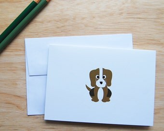 Beagle Dog Stationery Set, Beagle Stationery, Beagle Cards, Beagle Note cards