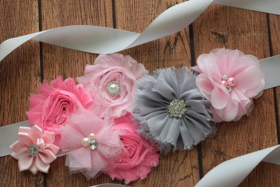 Flower Sash, Light pink3 , grey and pink Sash , flower Belt, maternity sash