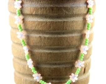 Peach and Green Daisy Chain Bracelet
