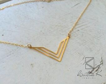 V Necklace | Gold V Necklace | Geometric Necklace | Gold Geometric Necklace | Triangle Necklace | Gold Triangle Necklace, Triangle Jewellery