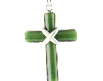 "Canadian Nephrite Jade Pendant, Cross - 10% off - Promo Code ""SUMMER17"""