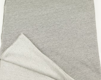 French Terry Knit Fabric Heather Gray and Off White by the Yard  FTK00006