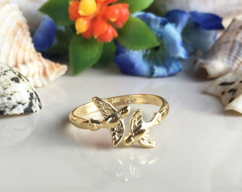 20% off- SALE!! Branch Bird Ring - Love Birds Ring - Gold Ring - Stacking ring - Animal Ring - Adjustable Ring - Minimalist Jewelry