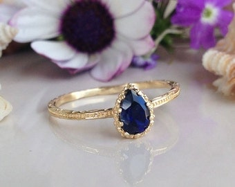 20% off- SALE!! Blue Sapphire ring - Slim Ring - Royal Blue Ring - September Birthstone - Simple Ring - Teardrop Ring - Bezel Set Ring