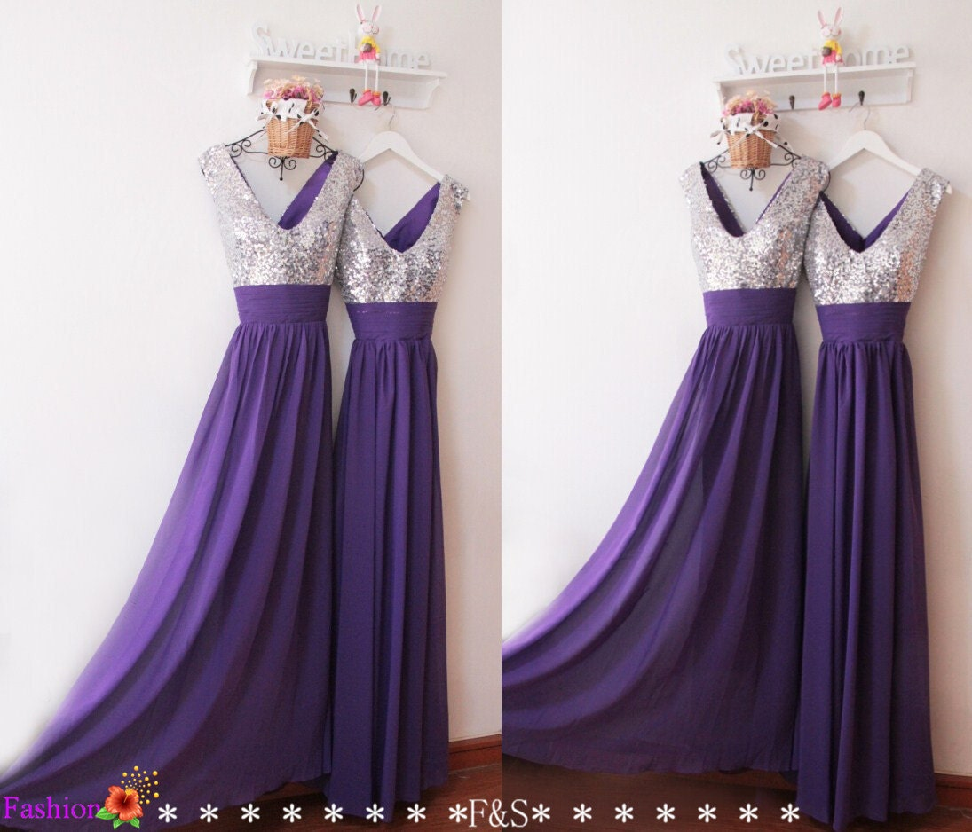 Purple Sequin Prom Dress y V Neck Bridesmaid DressSparkly