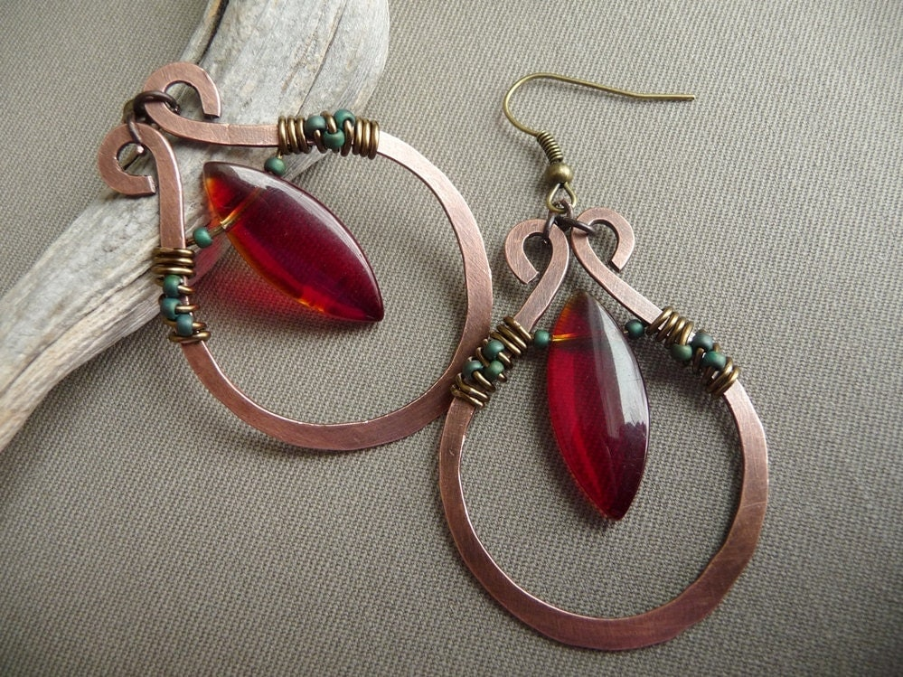 Metal Wire For Jewelry : Wire wrapped jewelry handmade copper earrings by