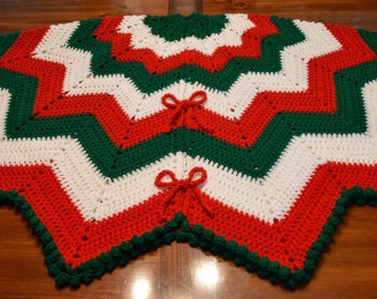 extra large crochet christmas tree skirt with bobble edge 66 ready to ship - Large Christmas Tree Skirts