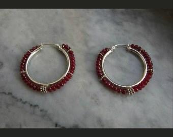 ruby sterling silver large hoop earrings wire wrapped statement earrings Bali sterling silver