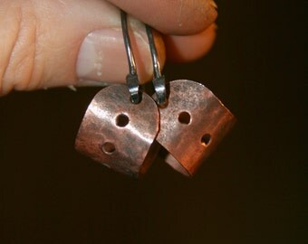 Aged Copper and Fine Silver  Handmade Earrings
