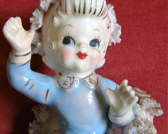 """Adorable Vintage Lipper & Mann """"Spaghetti"""" Girl Statue with Label"""