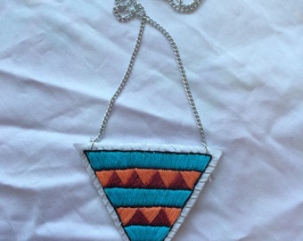 Blue, Orange, and Red Geometric Hand Embroidered Pendant