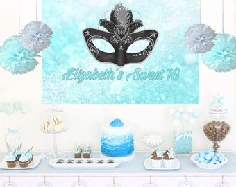 Masquerade Mask Personalized Party Backdrop - Aqua Birthday Cake Table Backdrop Birthday- Sweet 16 Backdrop, Printed Backdrop