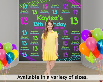 Neon Party Personalized Photo Backdrop - Birthday Photo Backdrop - 13th Birthday Photo Backdrop - Step and Repeat Backdrop
