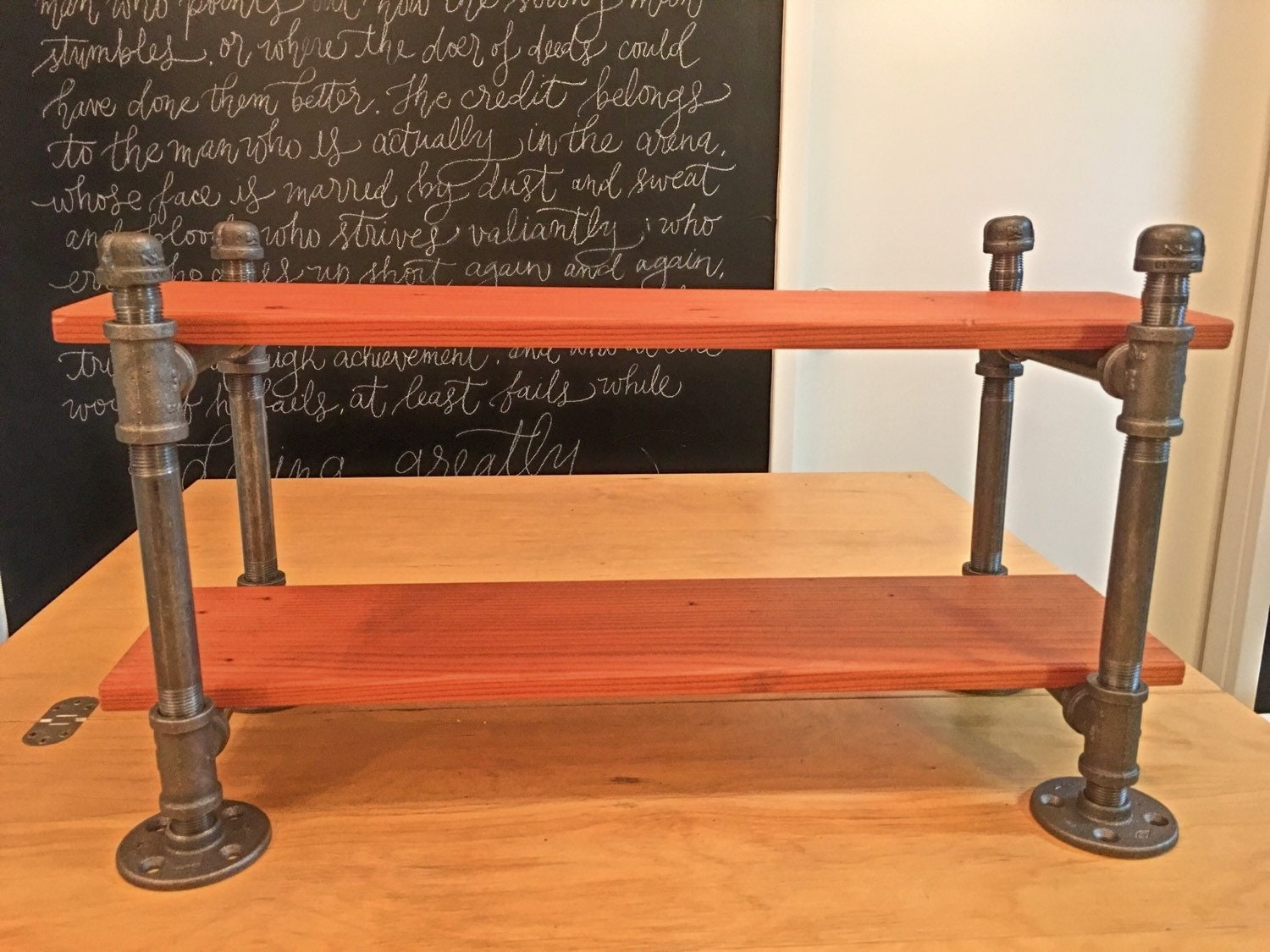 Iron Pipe Desk Shelf Industrial Shelf By Masonkreationsetsy
