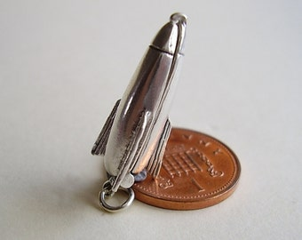 Sterling Silver Space Rocket - Astronaut Opening Charm