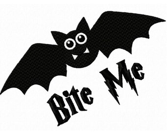Bite Me...Halloween Bat...Solid  Fill Machine Embroidery DESIGN NO. 759