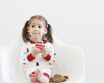 Kids Christmas Pajamas- Kids Holiday Pajamas-Organic Cotton- Baby Christmas Pajamas - Toddler Christams Pajamas- winter pjs- kids pjs