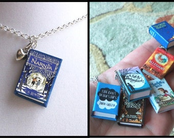 The Chronicles of Narnia with Tiny Heart Charm -Micro Mini Book Necklace