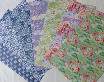 Vintage Japanese CHIYOGAMI washi paper set of 7