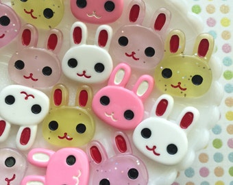 Kawaii bunny cabochons - 1 inch - Decoden bunny rabbit cabochon mix - 5 pcs