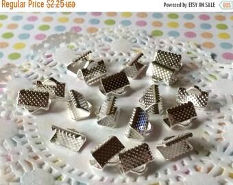 SALE - Silver Ribbon Crimp Ends - End Caps - Small Silver Crimp End Bars 10mm ( 25 pcs )