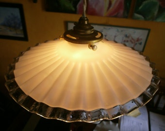 Original Vintage French light shade, milk glass, coolie shade, opaline Art Deco, Antique, pendant fixture, Chateau chic, cottage chic.Shabby