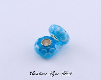 Choose 2 or 5 Murano glass beads charm Européan style ! BLUE color !