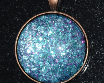 Pendant Necklace Sterling Silver Overlay Bezel and Ball chain Stunning Reflective Blue Glitter Flake