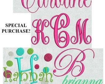 New FIVE Sets! Limited Instant Download  Machine Embroidery Designs Script Fonts Monogram Alphabet Font Fancy Dots Pes Format