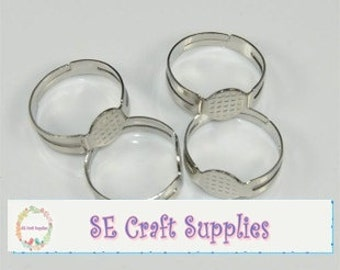 Adjustable Ring Base Ring Blanks with 8mm glue pad