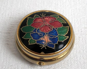 Vintage collectible metal and enamel pill box, trinket box, gold- coloured enamel pill box, vintage 1960's