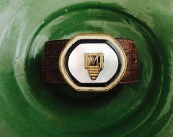 Vintage Buckle Cuff Letter M