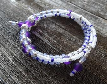 purple glass memory wire bracelet