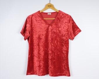 Womens velvet shirt etsy for Red velvet button up shirt