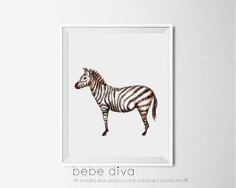 Zebra Art Print, Jungle Animal Art Print, Nursery Decor, Nursery Wall Art, Nursery Art, Playroom Wall Decor, Childrens Art,