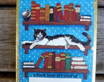 Cat on a bookshelf - Bookplates, Antioch Bookplate Company, vintage library book, black and white cat